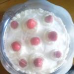 postre de frutilla y crema doble